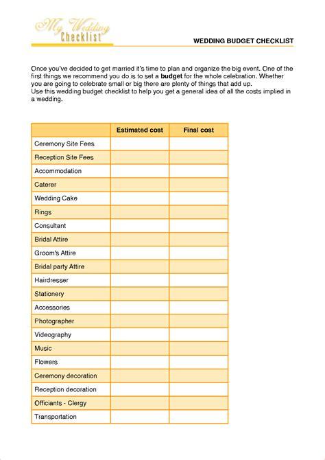 7  wedding budget checklist   Procedure Template Sample
