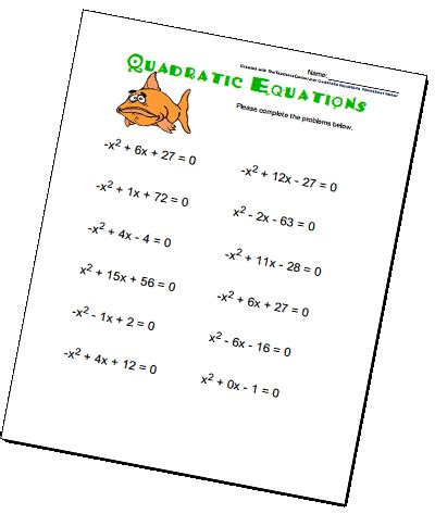 Quadratic Equations Worksheet by Quadratic Equations Worksheets