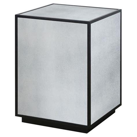 black mirror blocked tila modern industrial black mirror block side table