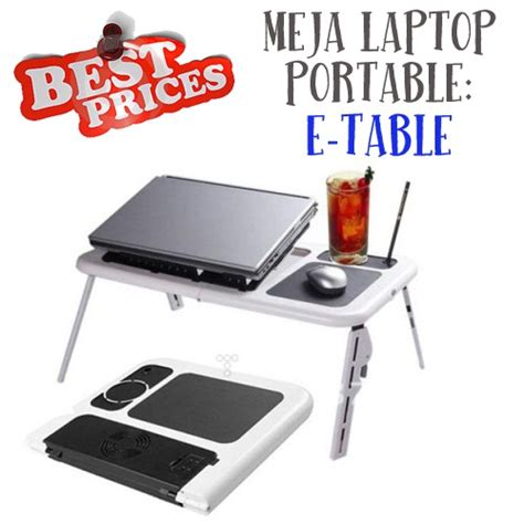 Meja Laptop Lipat Portable Premium Notebook Table With Cooling Fan meja laptop surabaya meja portable laptop e table