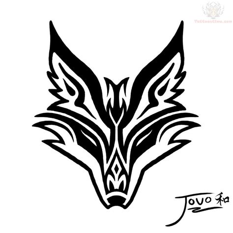 fox logo tattoo designs black tribal fox stencil by jouo