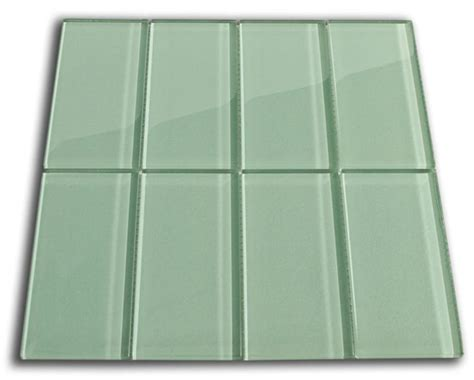 sage green glass subway tile 3x6 for backsplashes showers