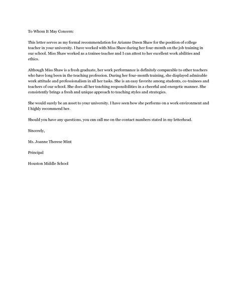 Recommendation Letter For Instructor sle letter of recommendation for letter of