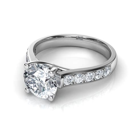 Ring With Diamonds Around It by Cut Engagement Rings With Side Diamonds