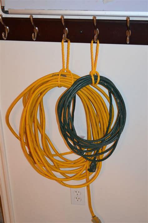 Effective storage for extension cords.   Garage