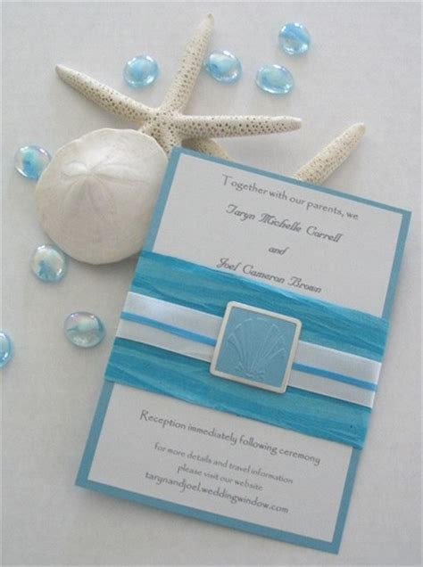 wedding invitations theme seashell themed blue wedding invitation by