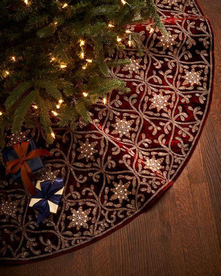 christmas burgundy gold and pearls sudha pennathur burgundy gold tree skirt