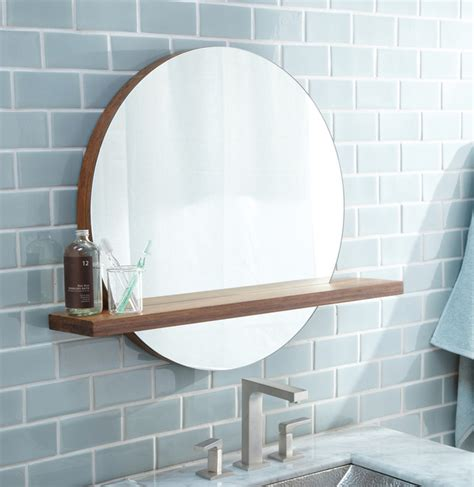 Modern Bathroom Mirror With Shelf Trails 22 Quot Solace Mirror Shelf In Woven Strand