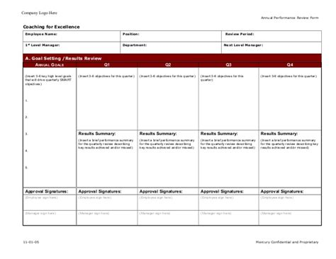 Coaching For Excellence Employee Annual Performance Evaluation Coaching Form Template