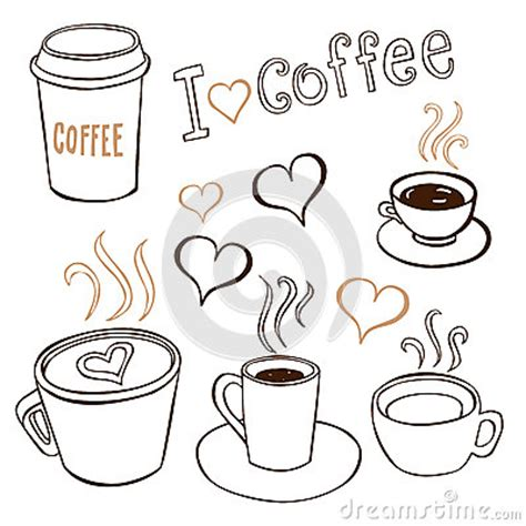 Coffee Doodles Stock Photo   Image: 34928560