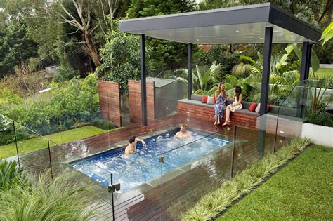 swim spa backyard designs modern nice design of the outdoor spa landscaping ideas