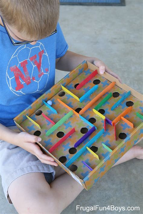 how to put a box together how to make a cardboard box marble labyrinth game frugal