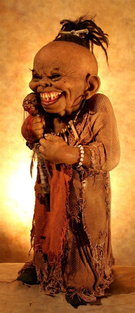thomas kuebler creepy sculpture shrunken head doll voodoo