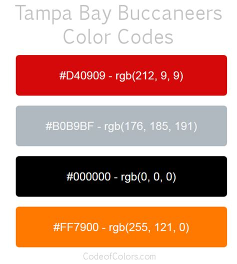 bay color ta bay buccaneers team color codes nfl team colors