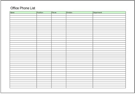 department phone list template list excel templates free