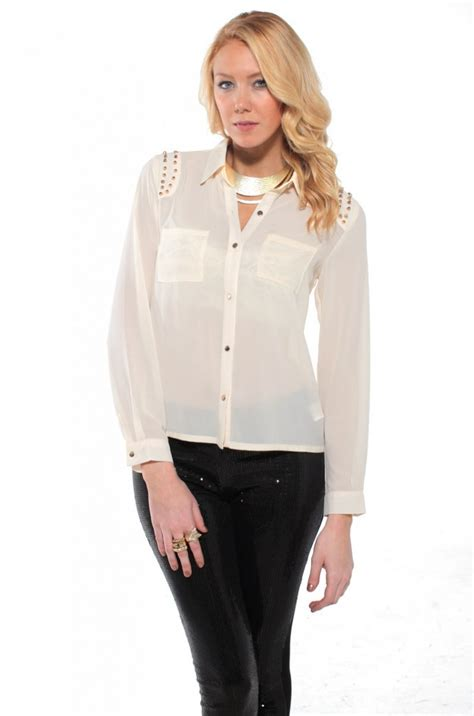 Bb Aqua Button Blouse Top Wanita studded button blouse in white lyst