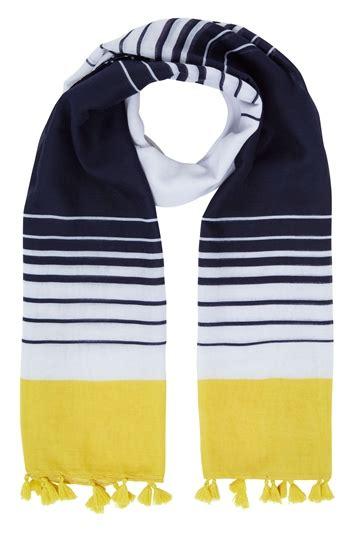 Mr8basic Stripe 2 Colour 27001 stripe tassel scarf in navy originals uk