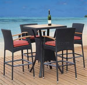Patio Furniture Pub Table Sets Brown Teak Finish Modern 5pc Outdoor Bar Set