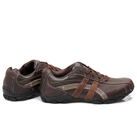 skechers brown leather mens trainers sneakers shoes