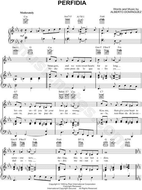 """Alberto Dominguez """"Perfidia"""" Sheet Music in C Minor"""