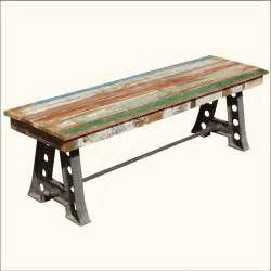 rustic solid teak wood industrial wrought iron bench