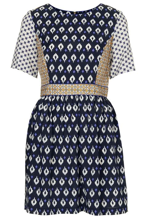 Dress Mix Tile lyst topshop womens mix tile print tea dress navy blue