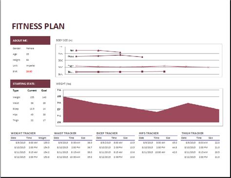 Ms Excel Fitness Planner Template Word Excel Templates Fitness Plan Template