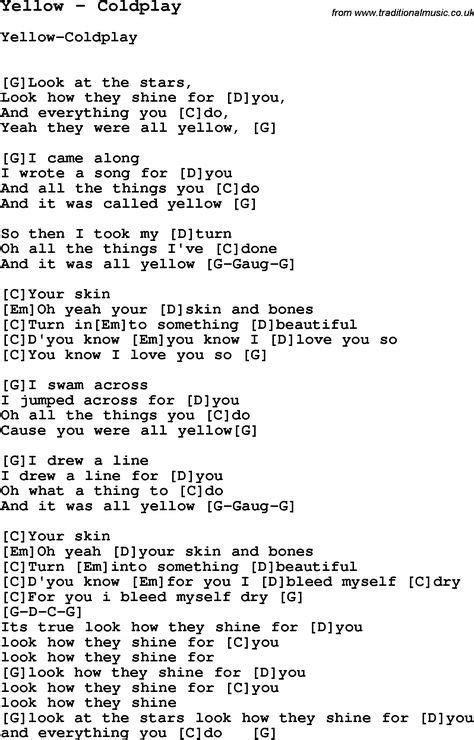 Coldplay Yellow Lirik Chord | song yellow by coldplay with lyrics for vocal performance