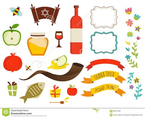 new year symbols and customs symbols of rosh hashanah new year stock vector