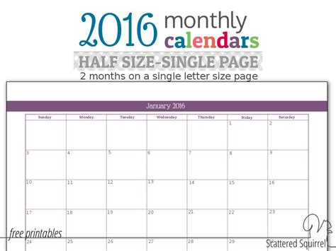 printable calendar half size update half size 2016 monthly calendars