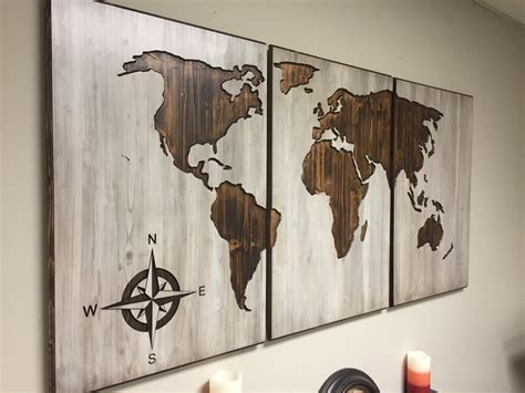 World Wall Decor by Wood World Map Wall Carved 3 Panel Home Decor World