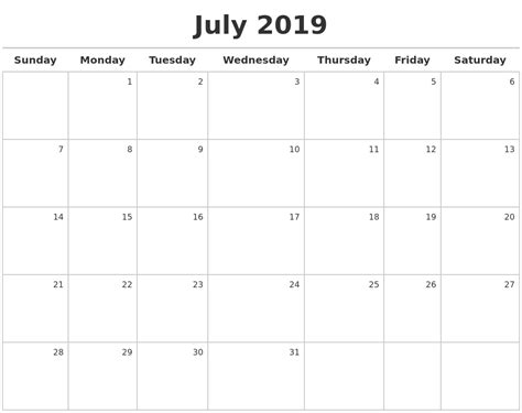 July 2019 Calendar Printable July 2019 Printable Calendar Free Printable Calendars 2018
