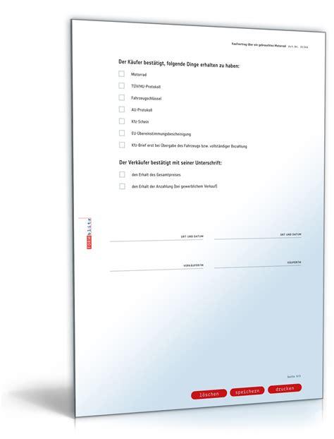 Motorrad Verkaufen Vertrag Vorlage by Kaufvertrag Motorrad Rechtssicheres Muster Zum Download