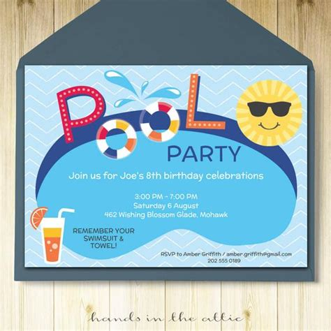 Pool Party Invitation Card Editable Template Party Printable Birthday Invitation Editable Templates