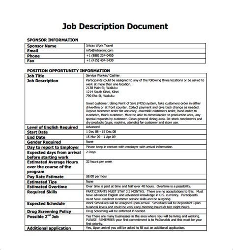 11 cashier job description templates free sle