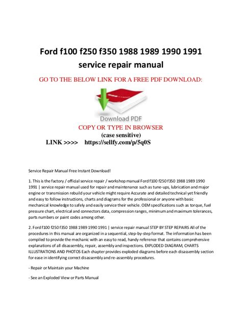 auto repair manual free download 1990 ford f series user handbook ford f100 f150 f250 f350 1988 1989 1990 1991 service repair manual