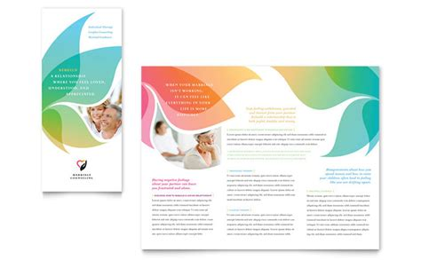 word templates for brochures marriage counseling tri fold brochure template design
