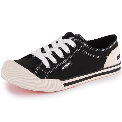 rocket jazzin womens canvas black trainers new shoes