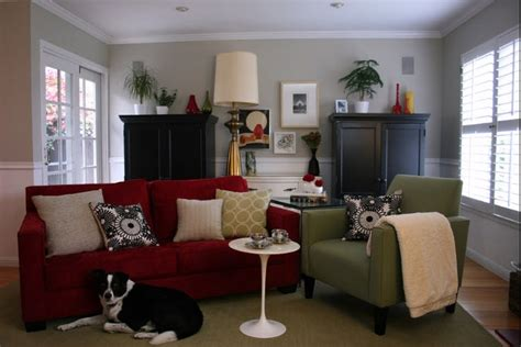 red sofa what color walls family room with red couch and gray walls basement