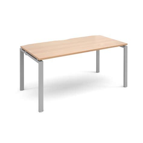 bench system adapt ii bench system single desk 1600x800mm silver beech www mantonoffice co uk