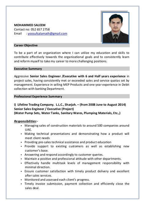 Resume Summary Sles For Engineers Senior Sales Engineer Executive With 6 And Half Yrs Experience Sal