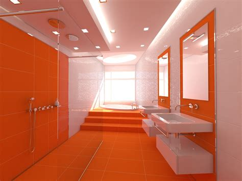 orange bathrooms charming orange style bathroom design with white bathtub and washbasins