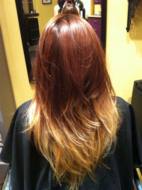 ombre with red and blonde red brown and blonde ombr 233 hair by stephmtzxoxo