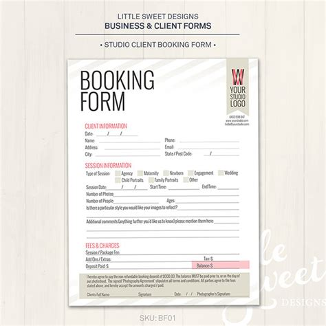 Booking Form Template Free photography studio client booking form by littlesweetdesigns