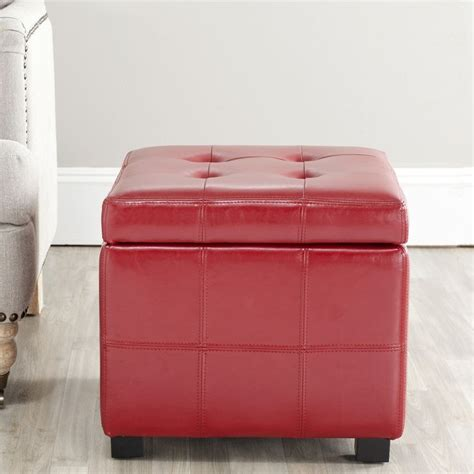 storage ottoman overstock safavieh broadway red leather tufted storage ottoman