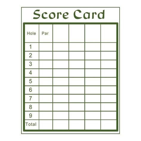 golf scorecards templates mini golf scorecard template book covers