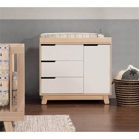 Babyletto Hudson Changing Table Babyletto Hudson 3 Drawer Changing Table Dresser In Washed With White M4223nxw