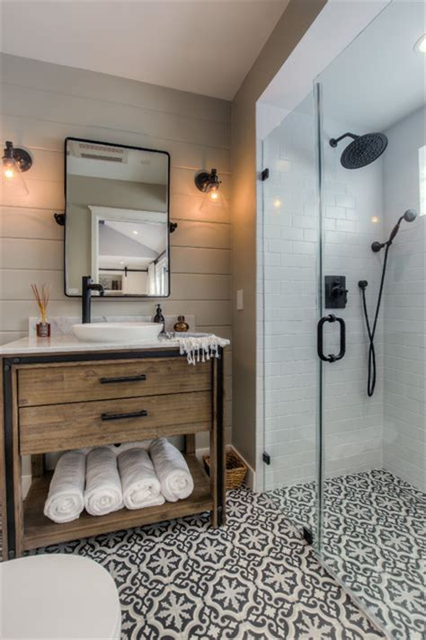 santa garage conversion transitional bathroom