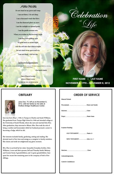 memorial handout template memorial brochure template 2 best agenda templates