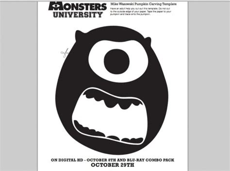 sully pumpkin template monsters mike wazowski pumpkin carving template
